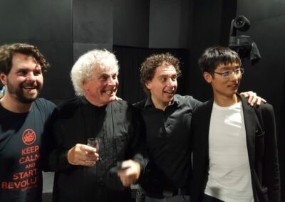 With Sir Simon Rattle and Conducting Academists Simon Rivard and Jack Wong in Verbier 2018
